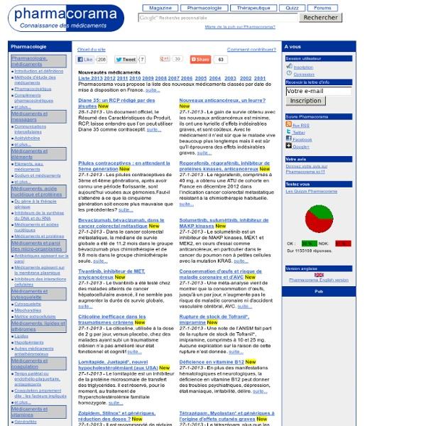 Pharmacorama - Connaissance des médicaments - Pharmacologie