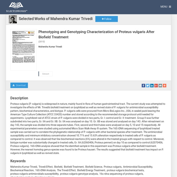 """""""Phenotyping and Genotyping Characterization of Proteus vulgaris After"""
