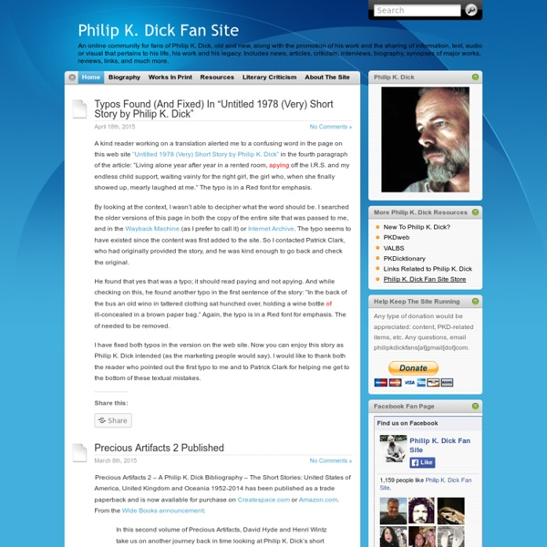 Philipkdickfans.com - The web site devoted to science fiction visionary ...