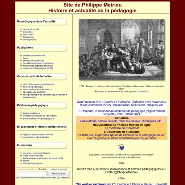 Philippe Meirieu : accueil et actualité de la pédagogie