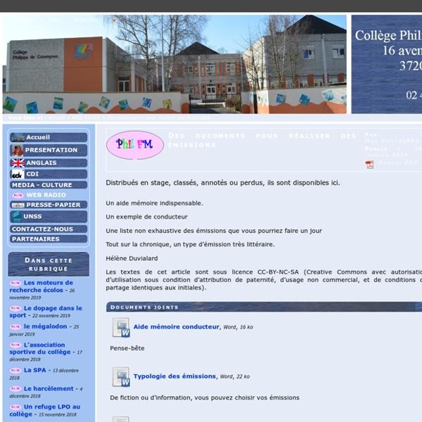 Collège Philippe de Commynes (Tours) - Des documents pour réaliser des émissions