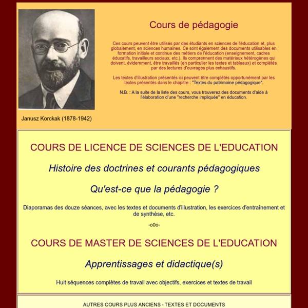 Site de Philippe meirieu : liste des cours de pédagogie
