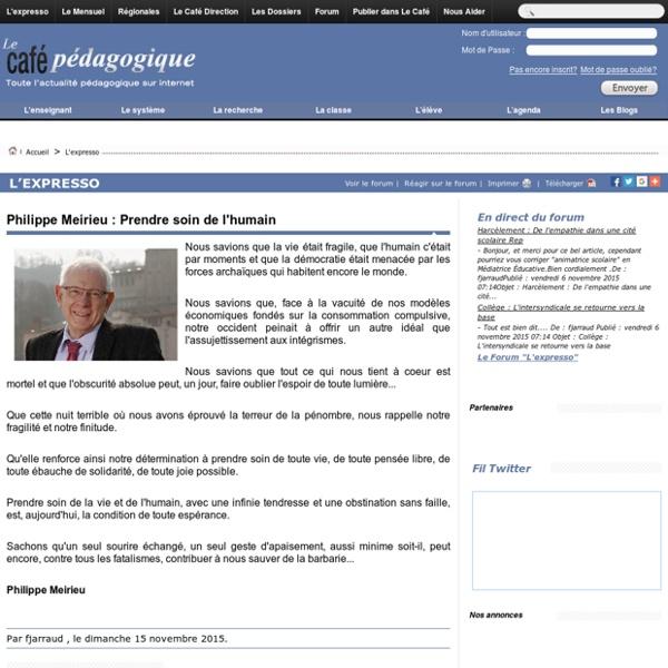 Philippe Meirieu : Prendre soin de l'humain