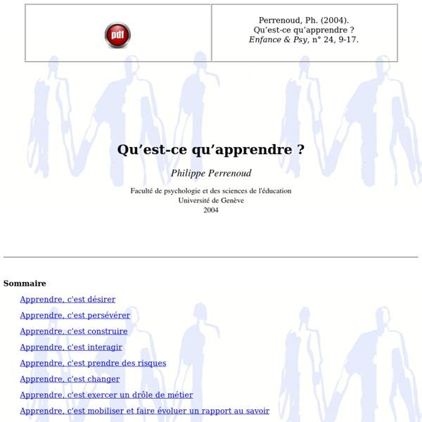 Philippe Perrenoud - Qu'est-ce qu'apprendre ? [2004_08]