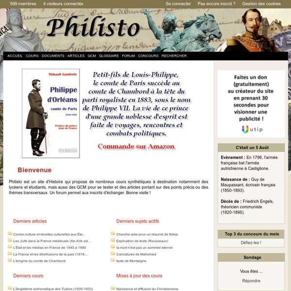 Philisto - Cours et QCM en Histoire