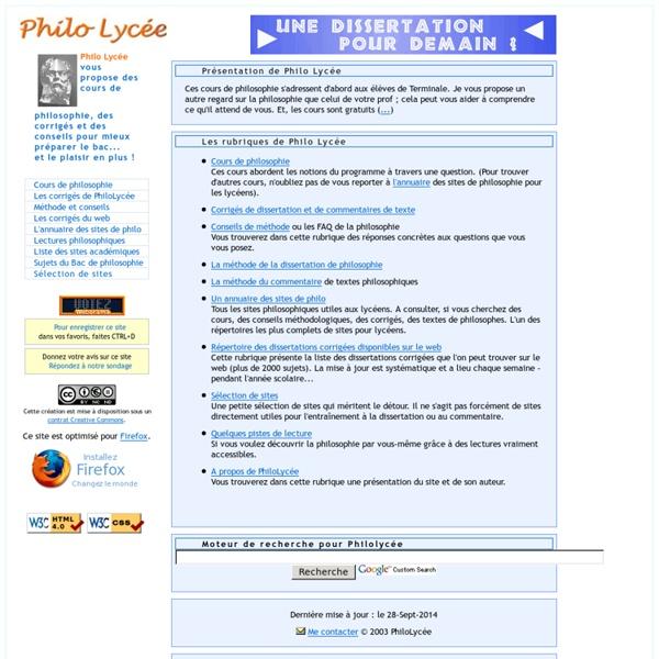 Philo Lycée - des cours, des corrigés et des conseils