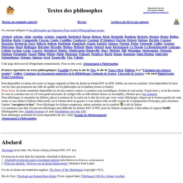 Textes des philosophes -Site académique de philosophie de Toulouse