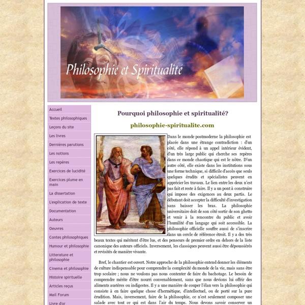 Philosophie et spiritualité (section Leçons et Notions)