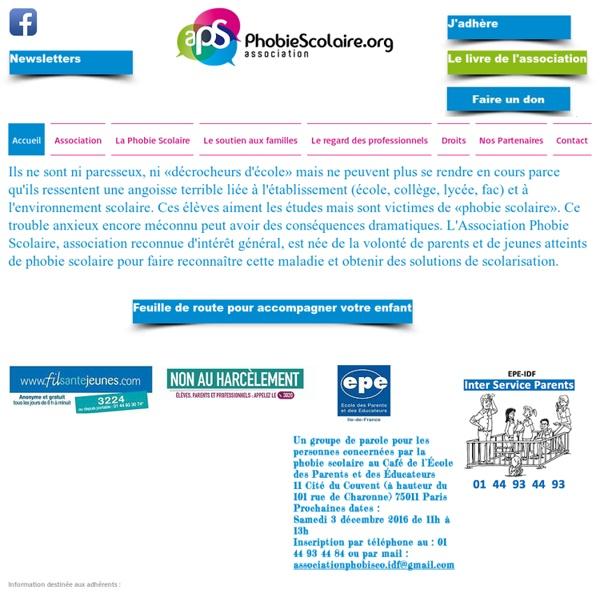 Site de l'association PHOBIE SCOLAIRE Accueil