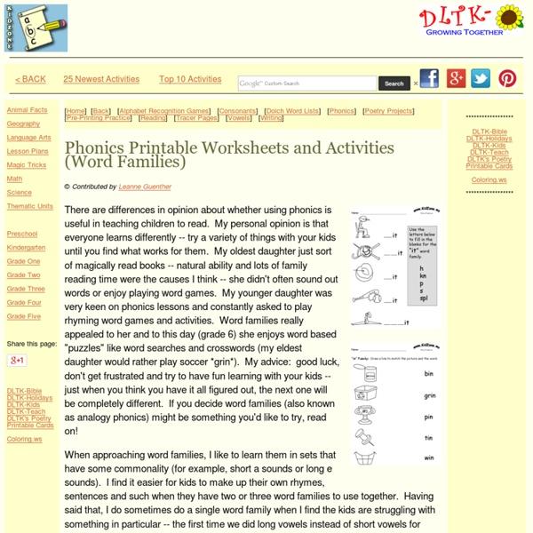 Phonics Free printable worksheets
