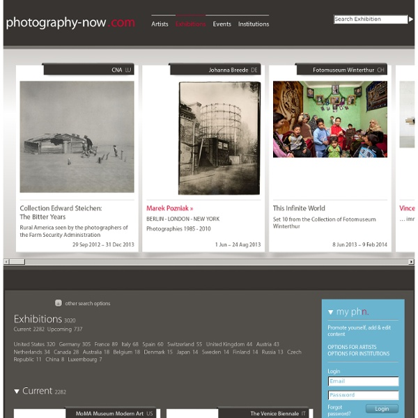 Exhibition list - artist, news & exhibitions - photography-now.com