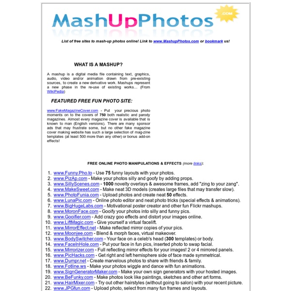 Mash-Up Photos With Fun Effects - Free Online Graphic Tools & Image Editors 2013