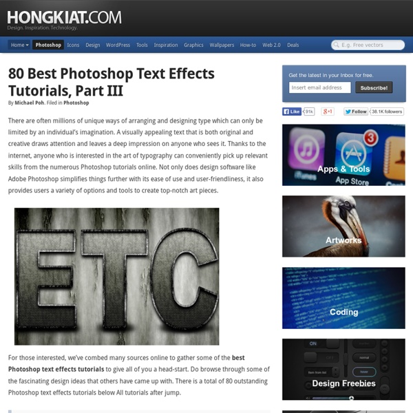80 Best Photoshop Text Effects Tutorials, Part III