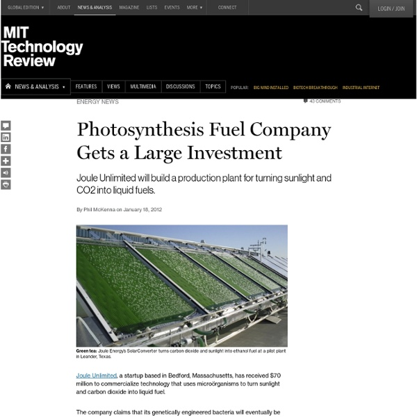Photosynthesis Fuel Company Gets a Large Investment