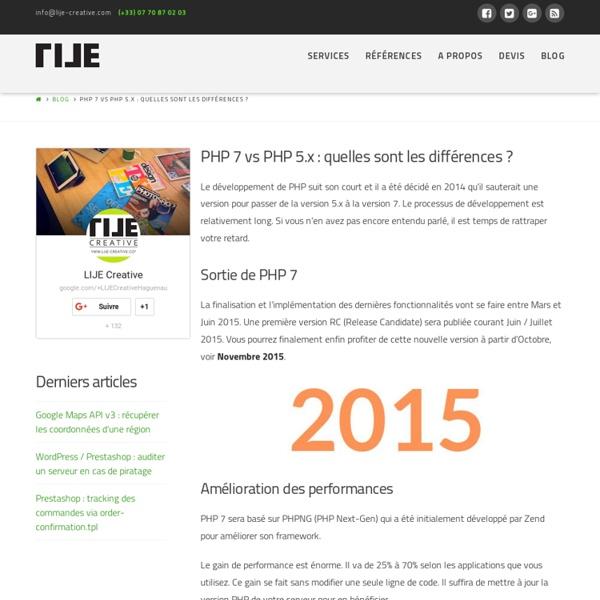 ⇒ PHP 7 vs PHP 5.x : quelles sont les différences ?