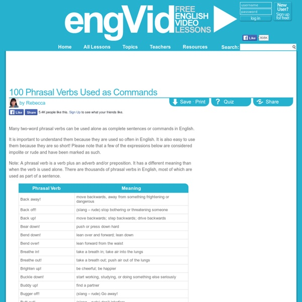 100 Phrasal Verbs Used as Commands