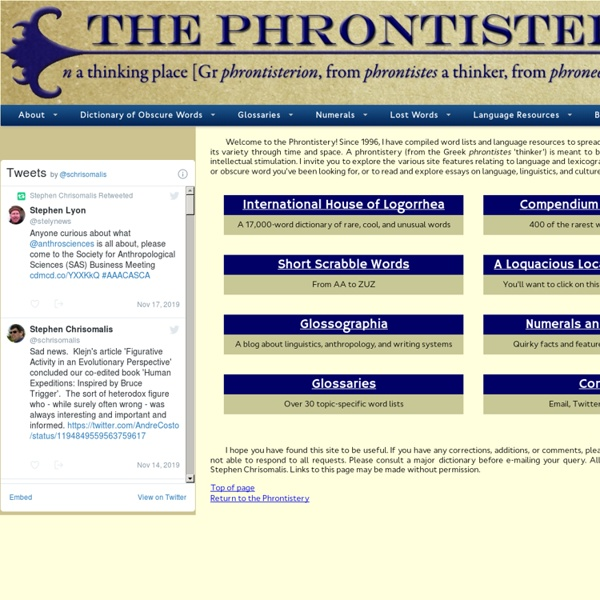 The Phrontistery: Obscure Words and Vocabulary Resources
