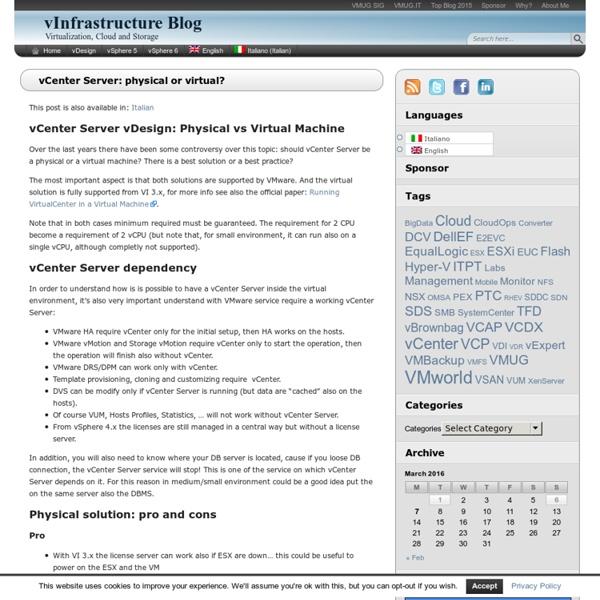 vCenter Server: physical or virtual? - vInfrastructure Blog