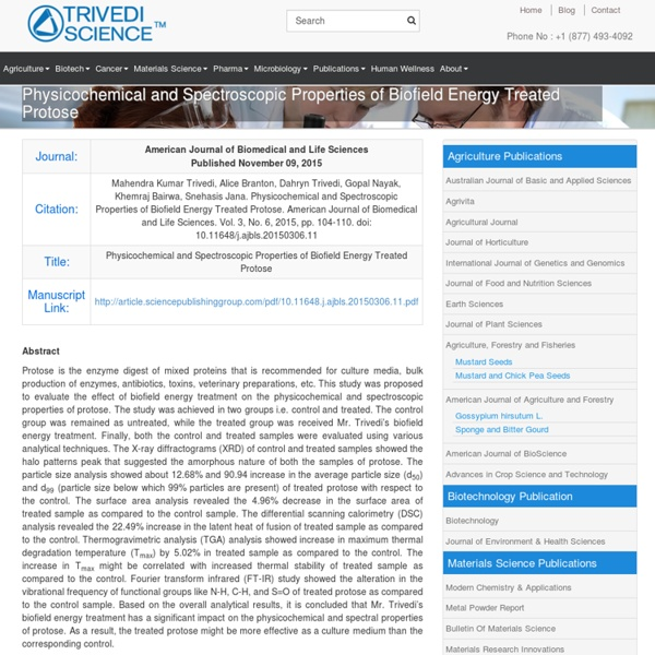 Biofield Impact on Protose TGA Analysis
