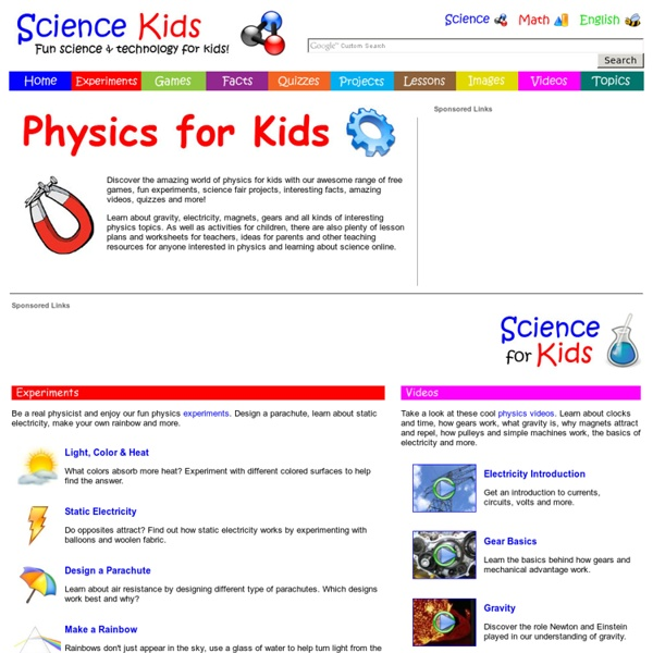Physics for Kids - Free Games, Fun Experiments, Activities, Science Online