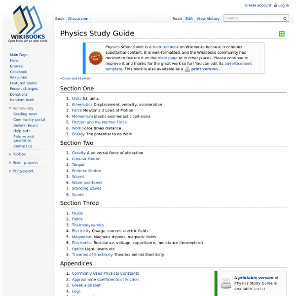Physics Study Guide - Wikibooks, collection of open-content textbooks