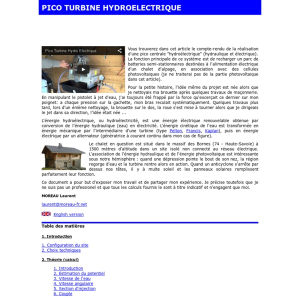 Pico turbine hydroélectrique