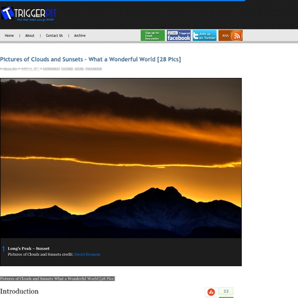 Pictures of Clouds and Sunsets - What a Wonderful World