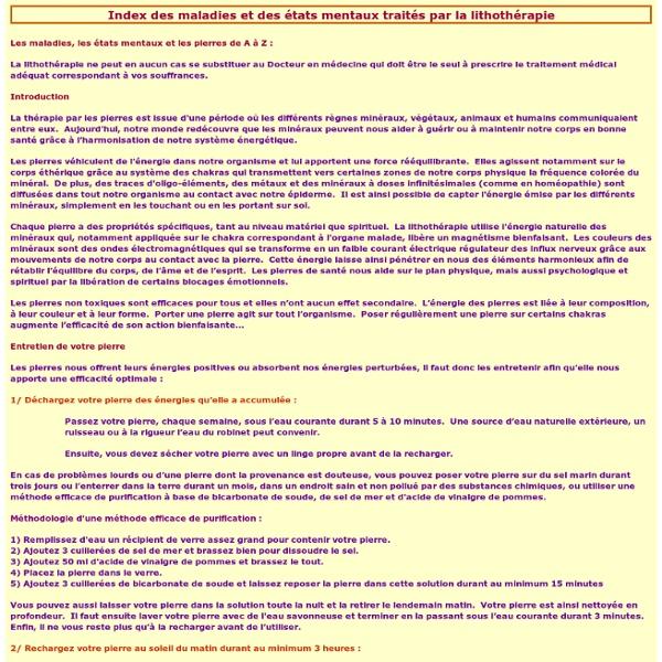 Les pierres de santé : index des maladies et des état mentaux traités par la lithothérapie