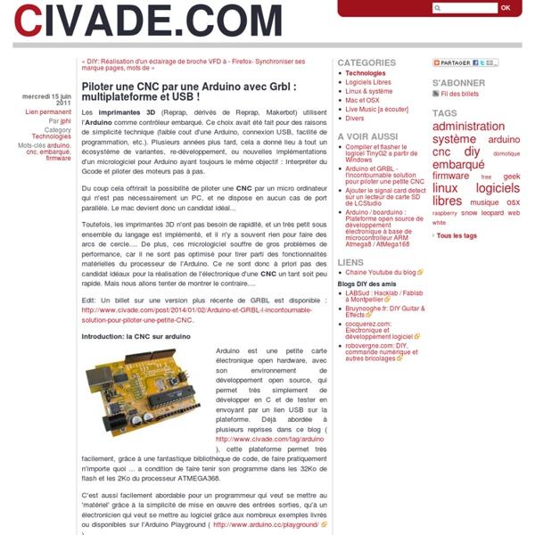 Piloter une CNC par une Arduino avec Grbl : multiplateforme et USB !