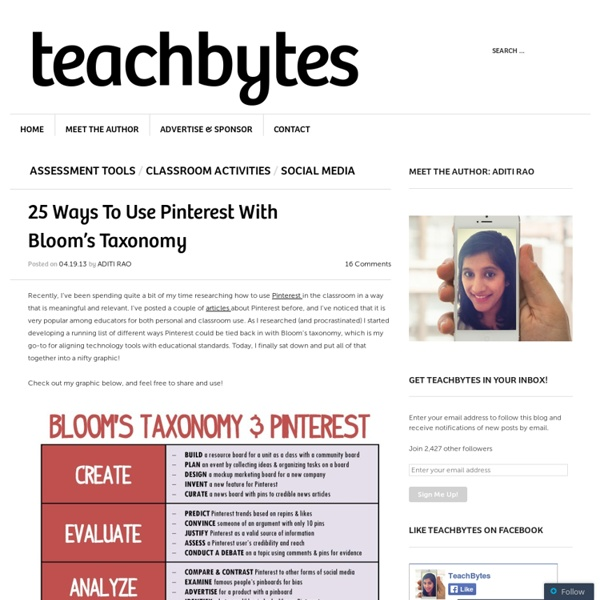 25 Ways To Use Pinterest With Bloom's Taxonomy