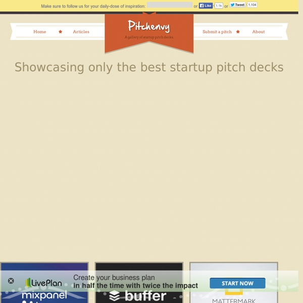 A gallery of startup pitch decks.