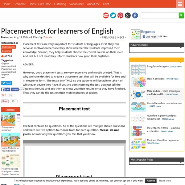 Placement test for learners of English