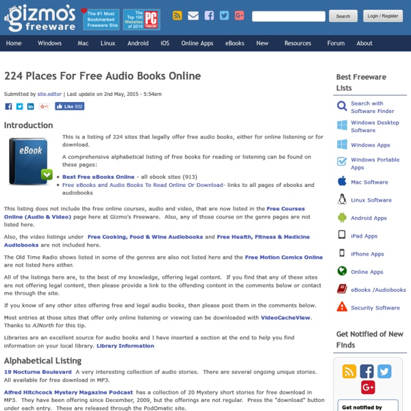 90 Places For Free Audio Books Online