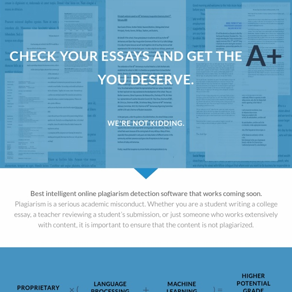 check my essay plagiarism online Advanced plagiarism checker and citation assistant with many professional features our proprietary deepsearch™ technology checks for plagiarism better than any.