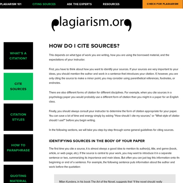 Cite Sources — Plagiarism.org - Best Practices for Ensuring Originality in Written Work