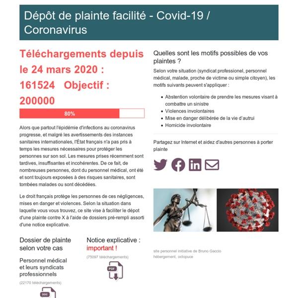 Plainte Covid-19 - Coronavirus - France