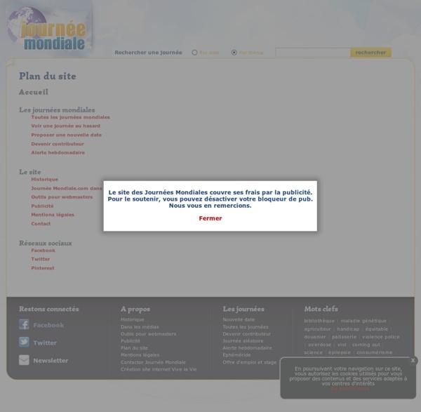 Le plan du site des Journées Mondiales, un site de VIVE la VIE