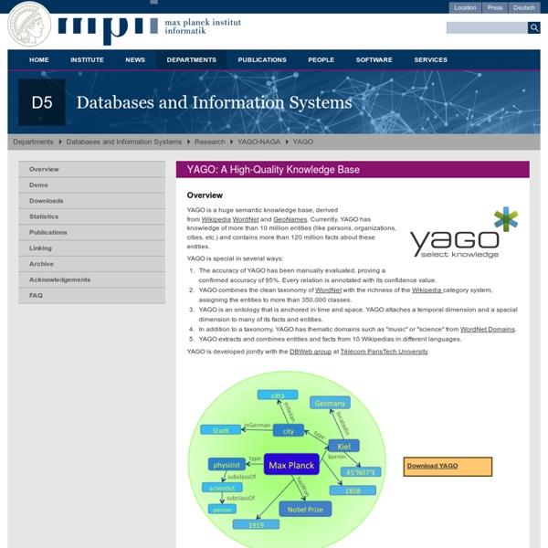 YAGO2 - D5: Databases and Information Systems (Max-Planck-Institut für Informatik)