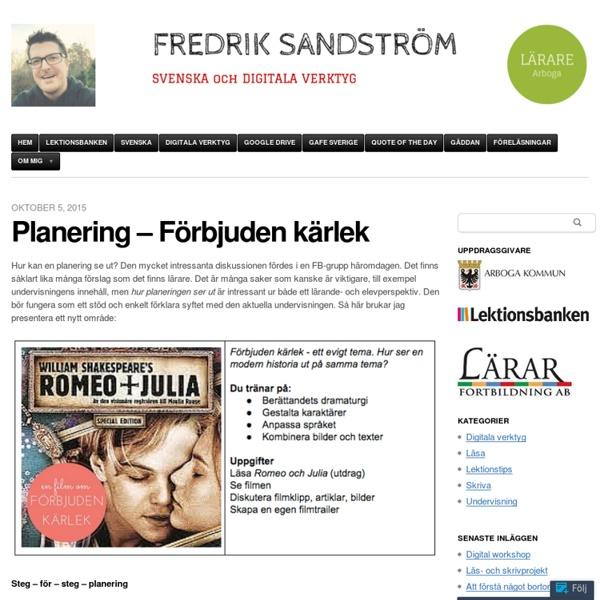 Planering – Förbjuden kärlek