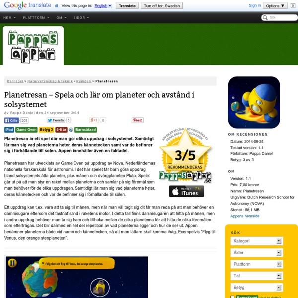 Planetresan - Spela och lär om planeter och avstånd i solsystemet