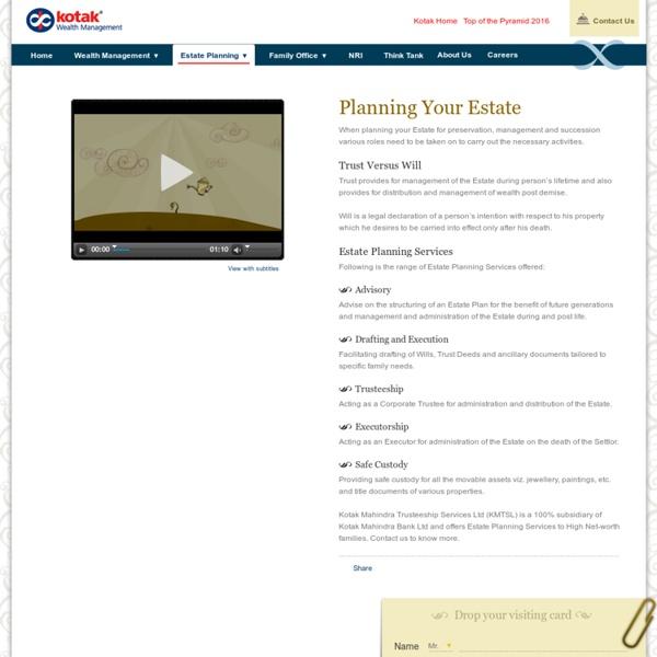 Estate Planning Services in India - Kotak Wealth Management