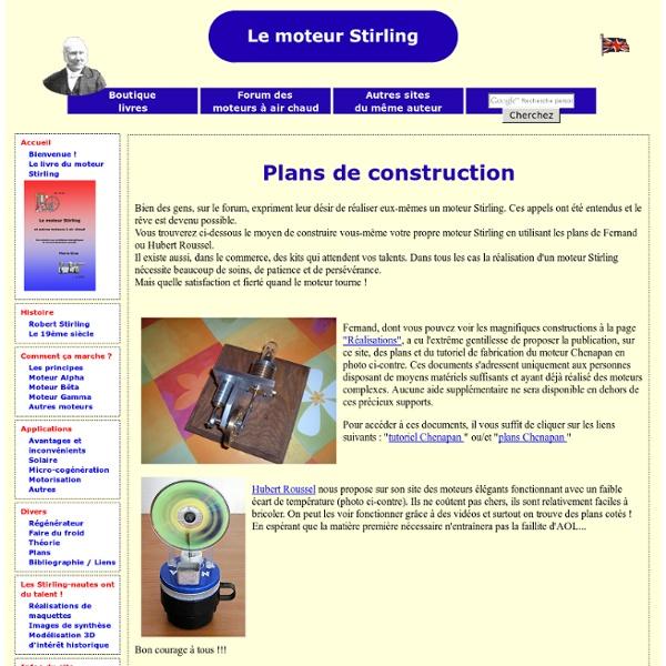 Plans de moteurs Stirling
