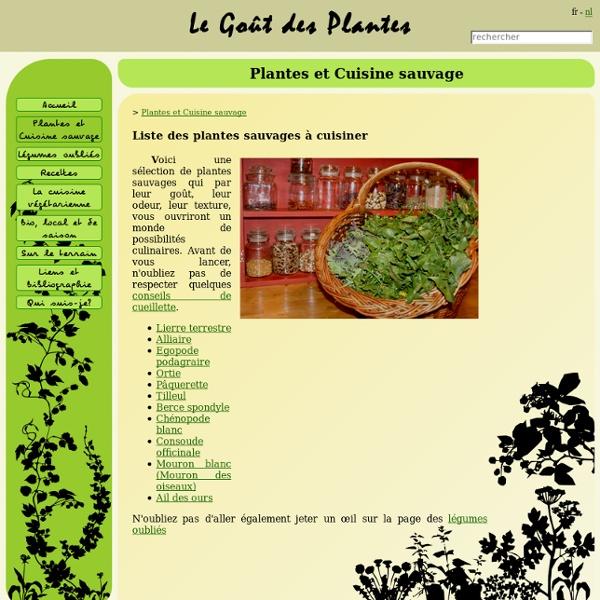 Le Goût des Plantes - Liste des plantes sauvages à cuisiner
