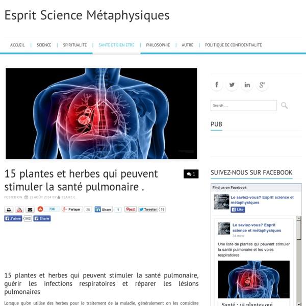 Santé : 15 plantes qui peuvent stimuler la santé pulmonaire