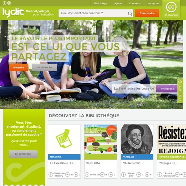 Plateforme de création et de partage pour l'éducation - lyclic.fr