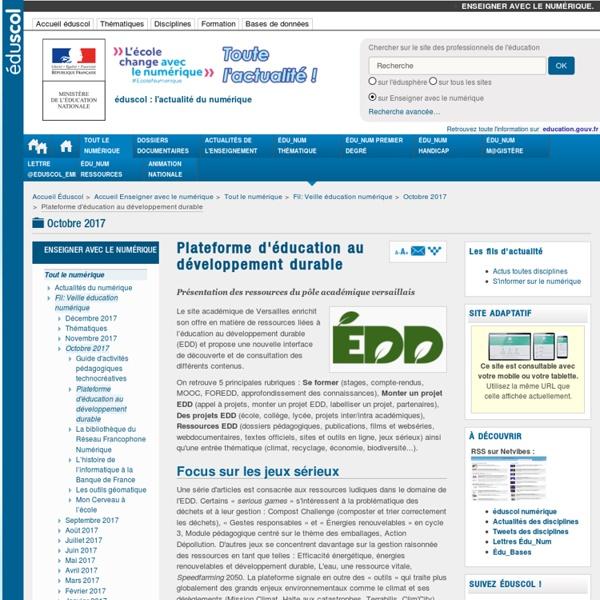 Plateforme d'éducation au développement durable