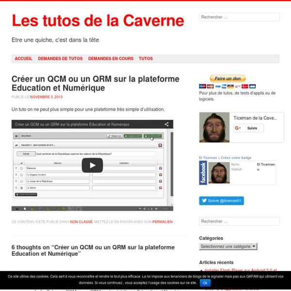 » Créer un QCM ou un QRM sur la plateforme Education et Numérique