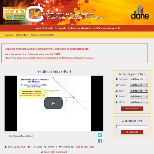ScolaWebTV - La plateforme de partage de contenus audio-vidéo dédiée aux enseignants de l'académie de Versailles