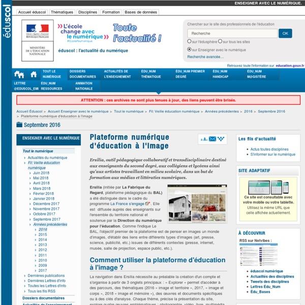 Plateforme numérique d'éducation à l'image — Enseigner avec le numérique