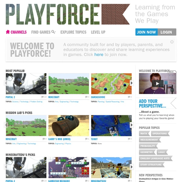 Playforce.org - Playforce: Learning from the games we play